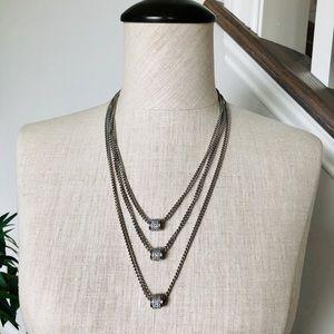 JESSICA SIMPSON Triple Silver Pave Necklace